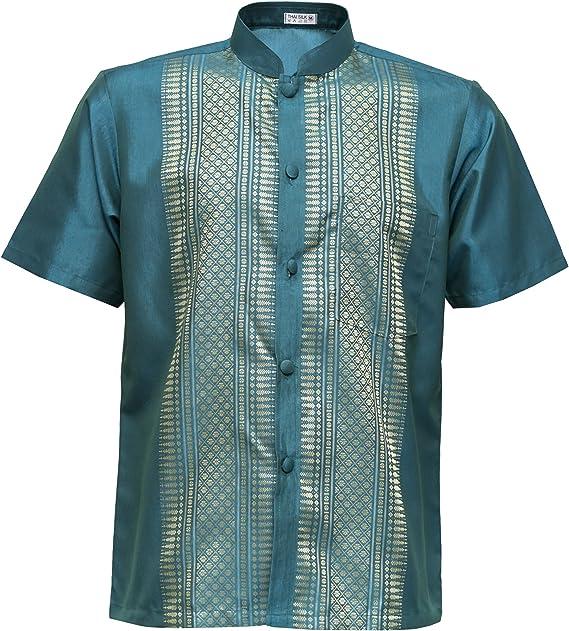 Designer Freizeit Seidenhemd Türkis  L Halbarm eher XL