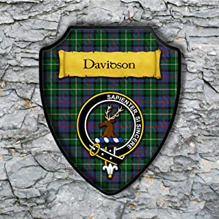 Davidson Shield Plaque with Scottish Clan Coat of Arms Badge on Clan Plaid Tartan Background Wall Art