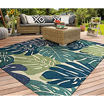Amazon Com Couristan Covington Monstera Cream Indoor Outdoor Area Rug 8 X 11 Furniture Decor