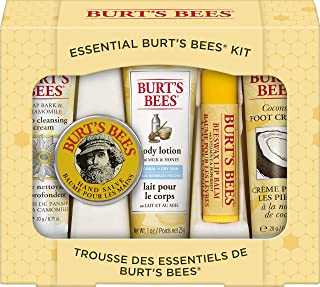 Burt's Bees Essential Everyday Beauty Gift Set, 5 Travel Size Products - Deep Cleansing Cream, Hand Salve, Body Lotion, Fo...