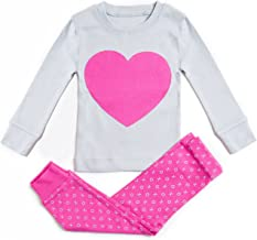 Bluenido Girls Pajamas Heart Love Pink 2 Piece 100% Super Soft Cotton (12m-8y)