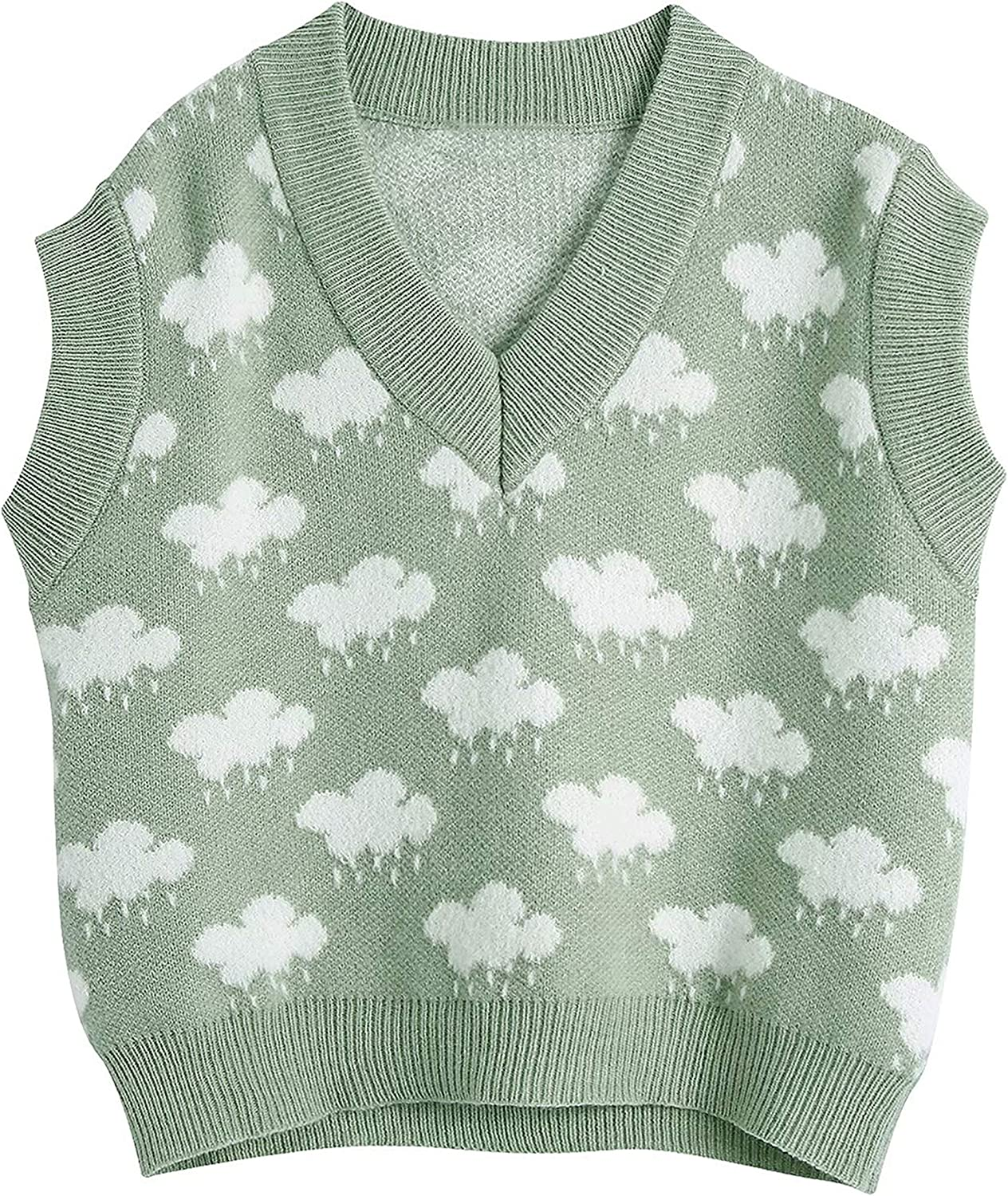 UANEO Womens Cloud Print Knit V Neck Sleeveless Pullover Sweater Vest