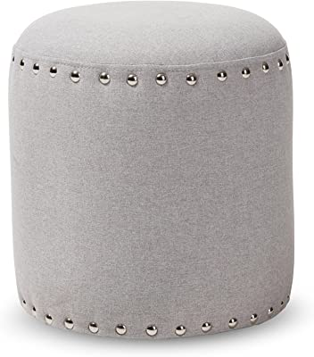 Baxton Studio Emilie Fabric Upholstered Nail Trim Ottoman, Light Grey