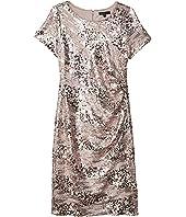 Short Sleeve Dress w/ Boatneck and Side Gathering