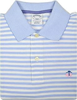 Mens Slim Fit Mesh Pique Cotton Two Button Performance Polo Shirt Light Blue White Striped