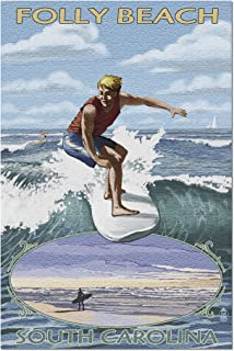 Folly Beach, South Carolina - Surfer with Inset 32679 (19x27 Premium 1000 Piece Jigsaw Puzzle for Adults)