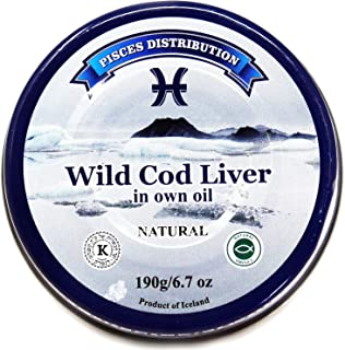 Wild Cod Liver in Own Oil – 10 pack x 6.7 oz (190 g) – Natural Source of Cod Liver Oil, Omega-3 Supplement