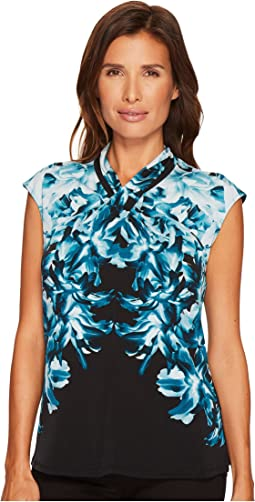 Calvin Klein - Sleeveless Printed Top with Crisscross Neck