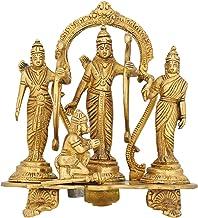 Dussehra Puja Statue Durbar of Rama Sita Lakshman and Hanuman Brass 7.5 Inch