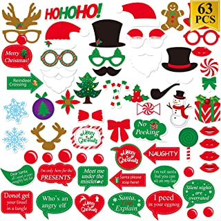 Christmas Photo Booth Props Kit (63pcs), Christmas Dress-up Decoration Party Supplies