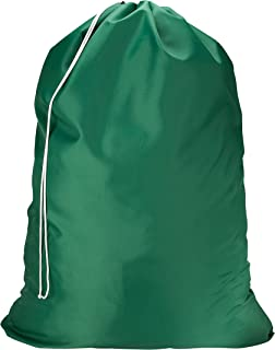 Nylon Laundry Bag - Locking Drawstring Closure and Machine Washable. These Large Bags Will Fit a Laundry Basket or Hamper and Strong Enough to Carry up to Three Loads of Clothes. (Green)