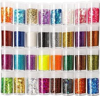 Teenitor Glitter, Fine Glitters and Holographic Chunky Glitters,Glitter for Nails, Glitter Slime, Assorted Glitter, Festiv...