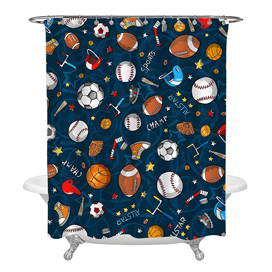 MitoVilla Sports Decor Shower Curtain for Kids Children Teens, Basketball Football Baseball Hockey Star Pattern Blue Bathroom Accessories, Personalized Gifts, Heavy Duty Easy Care, 72W X 72L