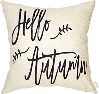 Fahrendom Rustic Hello Autumn Retro Farmhouse Style Fall Sign Cotton Linen Home Decorative Throw Pillow Case Cushion Cover with Words for Thanksgiving Day Sofa Couch 18 x 18 in