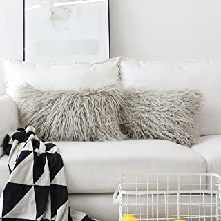 Home Brilliant Merino Style Mongolian Decorative Faux Fur Oblong Fuzzy Throw Pillow Covers for Couch Sofa Bed, 12x20inches, 30 x 50cm, Set of 2, Light Grey