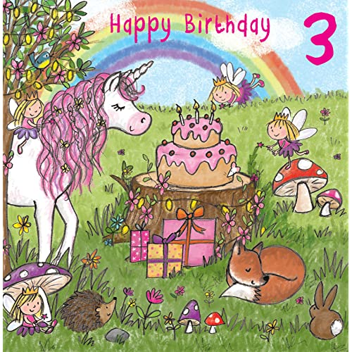 Twizler 3rd Birthday Card For Girl With Magical Unicorn Fairies Rainbow And Glitter