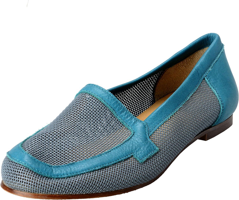 MAISON MARGIELA MM6 Women's Leather & Canvas Ballet Flats shoes US 6 IT 37 bluee