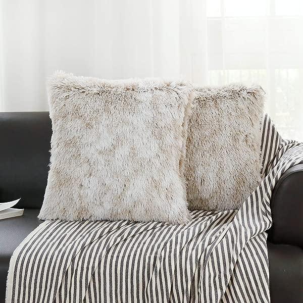 杰瑞布艺 2 件套超柔软实心毛绒人造毛装饰抱枕套家居装饰设计沙发卧室汽车坐垫套 18 18 英寸 45 45 厘米 A3 卡其色