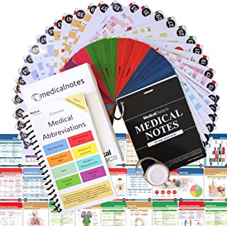 Medical Notes with Medical Abbrev Booklet - 67 Medical Reference Cards (3.5