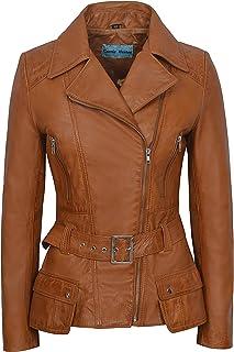Carrie CH Hoxton Chaqueta de Cuero Real para Damas 100% Piel de Cordero Napa Casual Fashion Biker Style 2812