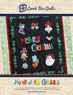 Holly Jolly Christmas Applique Machine Embroidery Design with Digital Download Redemption Code and Backup CD by Lunch Box Quilts