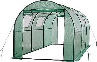 oGrow OG17778-PEG 2 Door Walk-In Tunnel Greenhouse, Green, 15' x 6' x 6'