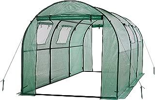 OGrow 2 Door Walk-in Tunnel Greenhouse with Ventilation Windows & Steel Frame, 15' x 6' x 6', Green