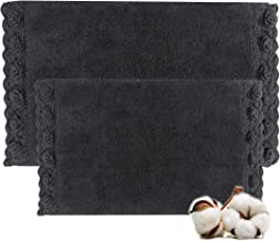 "Cotton Bath Rugs Size 21""x34""/17""x24"" Bathmat Water Absorbent and Machine Washable (Charcoal)"