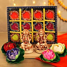 TIED RIBBONS Laxmi Ganesh Statue with Handmade Multicolor Diyas and Lotus Flowers - Diwali Decoration and Gift Item