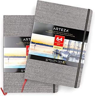 """ARTEZA 8.3x11.7"""" Watercolor Book, Pack of 2 Watercolor Sketchbooks, 64 Pages per Pad, 110lb/230gsm, Linen Bound with Bookmark Ribbon and Elastic Strap, for Watercolor Techniques and Mixed Media"""