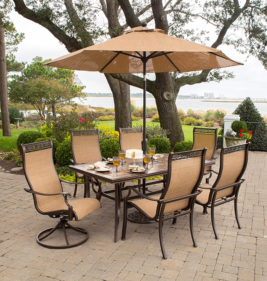 Hanover MONACO7PCSW-SU-P Monaco 7 Pc Two Swivel, Four Chairs, and a 40 x 68 in. Table with Umbrella Outdoor High Back Sling Dining Set, Tan/Bronze