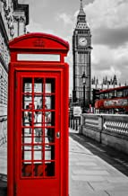 TianMaiGeLun New DIY 5D Diamond Painting Kits Diamond Embroidery Art Painting Pasted Paint by Number Kits Stitch Craft Kit Home Decor Wall Sticker - Red Phone Booth UK Big Ben, 25x35cm