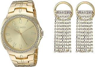 STEVE MADDEN - Reloj de pulsera con cadena de malla y diamantes de imitación para mujer (varios colores)