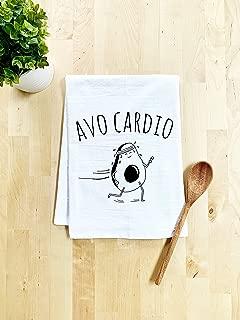 Funny Dish Towel, AvoCardio, Avocado Pun, Flour Sack Kitchen Towel, Sweet Housewarming Gift, Farmhouse Kitchen Decor, White
