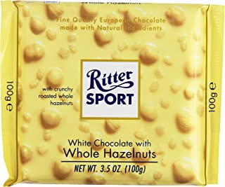 Ritter Sport White Chocolate with Whole Hazelnuts, 3.5 Ounce (Pack of 10)