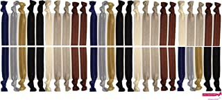 Neutral Tones Hair Ties No Crease Ponytail Holders (Available in Lots of Pack Quantities) - Ouchless Elastic Styling Accessories Pony Tail Holder Ribbon Bands - By Kenz Laurenz (50 Pack)