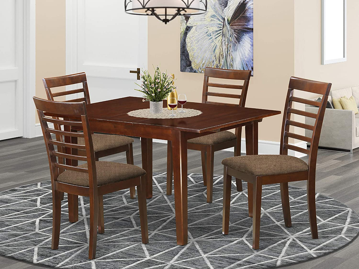 East West Furniture MILA5-MAH-C 5-Piece Max 62% OFF Room Set Ranking integrated 1st place Dining Kitchen