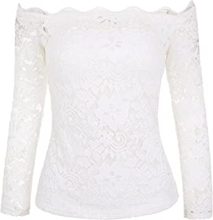 Women's Off Shoulder Lace Top Sexy Floral Lace Blouse T-Shirt Long Sleeve