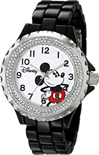 Disney Women's W001637 Mickey Mouse Analog Display Analog Quartz Black Watch