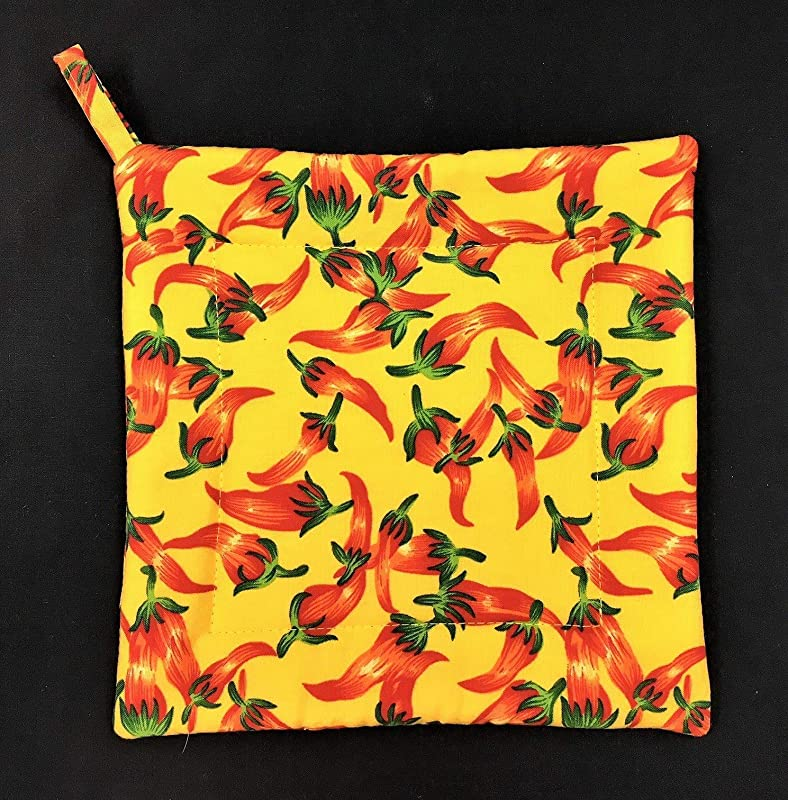 Chili Hot Peppers On Yellow Square Pot Holder Hot Pad Trivet