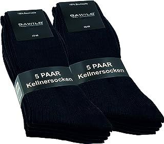 GAWILO Lot de 10 paires de chaussettes de serveur - 100 % pur coton - Sans couture - Structure côtelée élégante