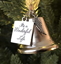 K9King It's a Wonderful Life Inspired Christmas Angel Bell Ornament with Stainless Steel Angel Wing Charm. New Larger Size and Now Comes with 2 Interchangeable Ribbons.