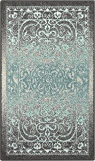 Maples Rugs Pelham 2'6 x 3'10 Non Skid Small Accent Throw Rugs [Made in USA] for Entryway and Bedroom, Grey/Blue