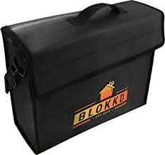 BLOKKD Fireproof Document Bags - Fire Safe Lock Box Bag - Waterproof Storage Safety for Files, Money, Passport, Jewelry, V...