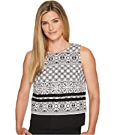 Ivanka Trump - Woven Popover Printed Blouse