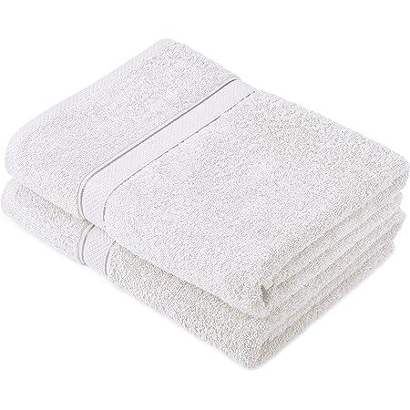 Pinzon by Amazon - Juego de toallas de algodón egipcio (2 toallas de baño), color blanco
