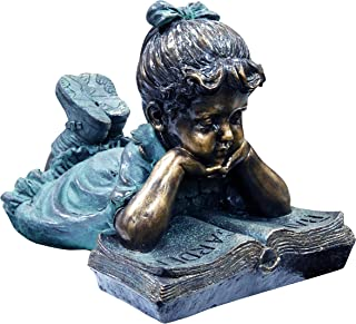 (Medium) - Alpine Corporation Girl Laying Down Reading Book Statue Set - Outdoor Decor for Garden, Patio, Deck, Porch - Ya...
