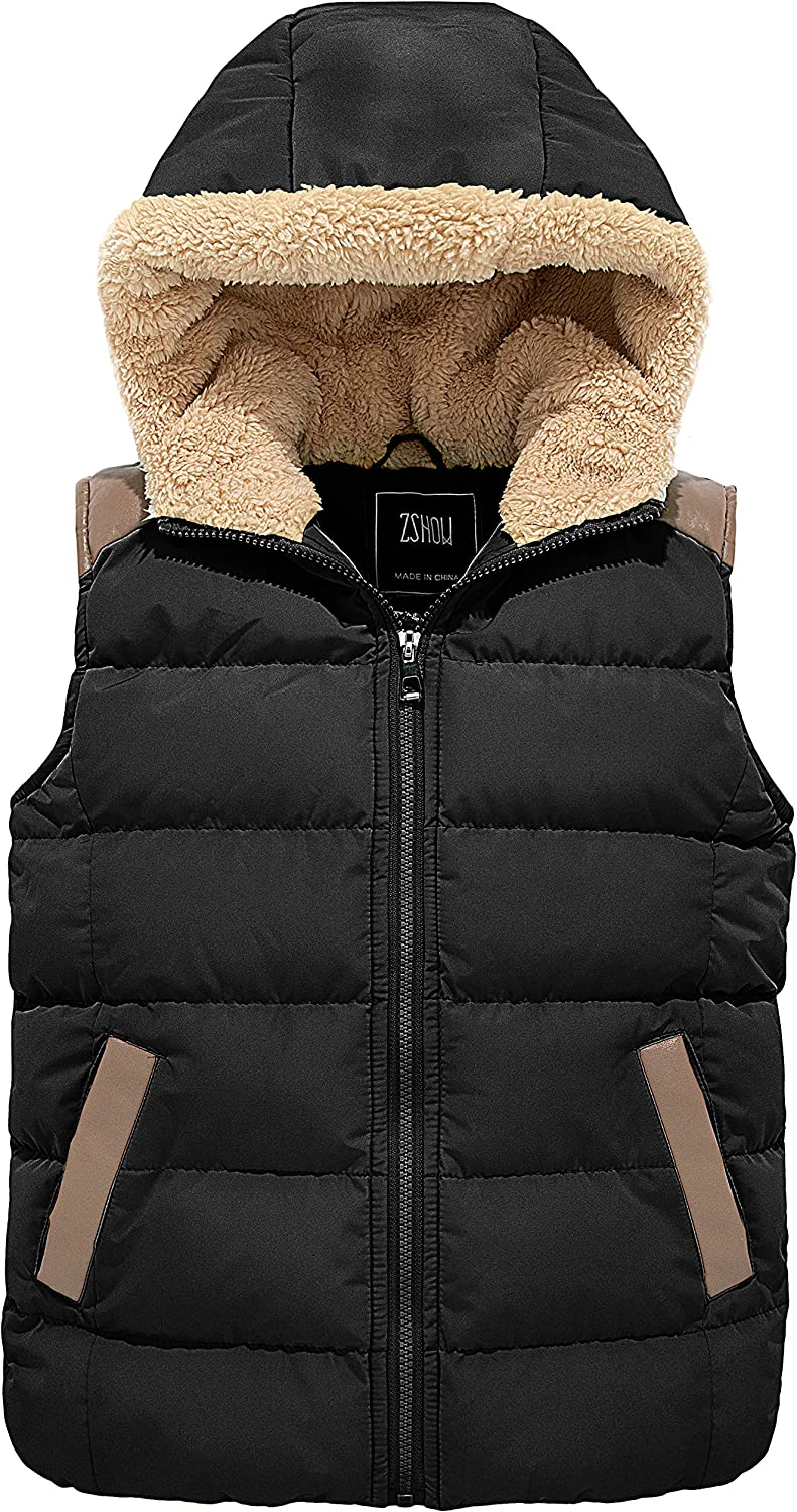 ZSHOW Girls' and Boys' Hooded Puffer Vest Jacket Water Resistant Lightweight Outerwear Coat
