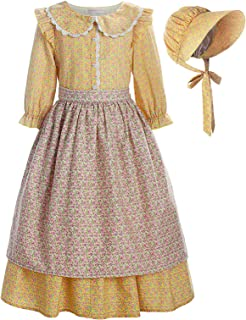 ReliBeauty Pioneer Girl Costume Laura Ingalls Wilder Dress Yellow