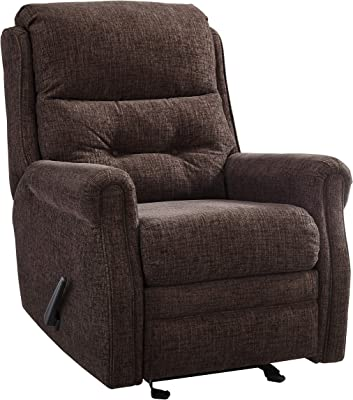 Benjara Button Tufted Wooden Recliner with Gliding Mechanism, Brown
